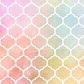 Pastel Rainbow Watercolor Moroccan Pattern
