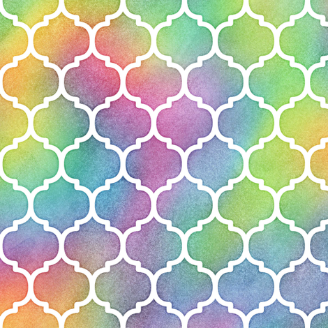 Bright Rainbow Watercolor Moroccan Pattern fabric by raccoongirl on Spoonflower - custom fabric