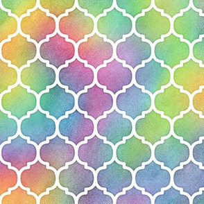 Bright Rainbow Watercolor Moroccan Pattern