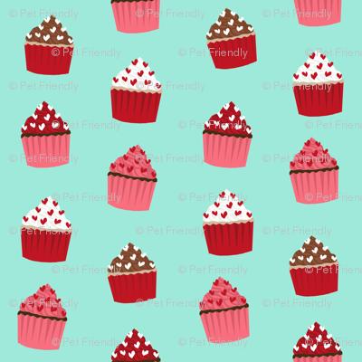 valentines cupcake coordinate - aqua