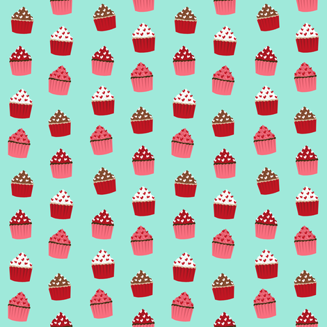 valentines cupcake coordinate - aqua fabric by petfriendly on Spoonflower - custom fabric
