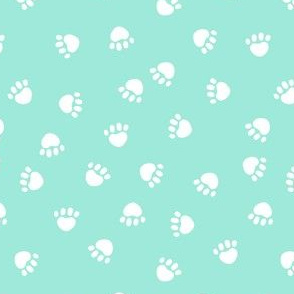 paw print fabric - valentines coordinate - aqua