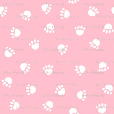 paw print fabric - valentines coordinate - pink