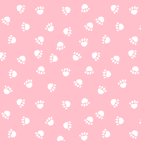 paw print fabric - valentines coordinate - pink fabric by petfriendly on Spoonflower - custom fabric