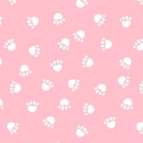 paw print fabric - valentines coordinate - pink