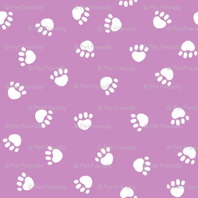 paw print fabric - valentines coordinate - purple