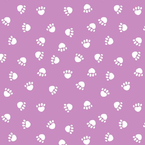 paw print fabric - valentines coordinate - purple fabric by petfriendly on Spoonflower - custom fabric