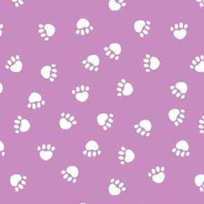 paw print fabric - valentines coordinate - purple