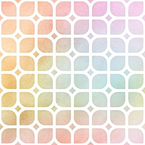 Pastel Rainbow Watercolor LatticeSquares Pattern