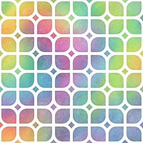 Bright Rainbow Watercolor LatticeSquares Pattern