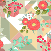 Spring florals and Tangram Background