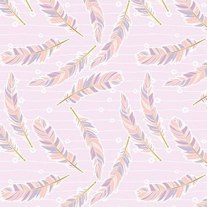 Floating Feathers-Peach and Lilac- MEDIUM