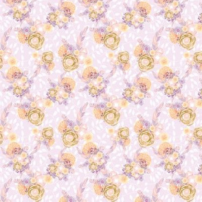 Feather Floral -lilac, peach, & gold