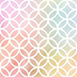 Pastel Rainbow Watercolor LatticeCircles Pattern