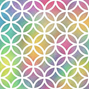 Bright Rainbow Watercolor LatticeCircles Pattern