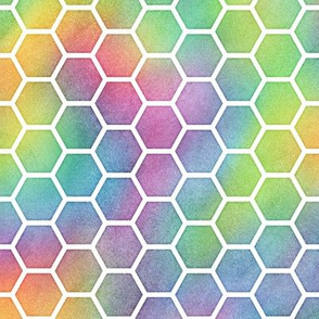 Bright Rainbow Watercolor HoneyComb Pattern