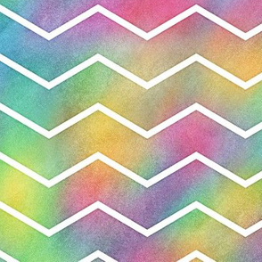 Bright Rainbow Watercolor Chevron Pattern 2