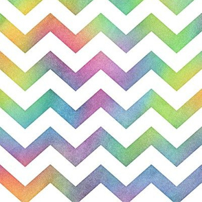 Bright Rainbow Watercolor Chevron Pattern 1