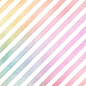 Pastel Rainbow Watercolor DiagonalStripes Pattern