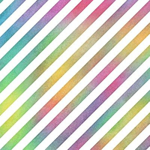 Bright Rainbow Watercolor DiagonalStripes Pattern