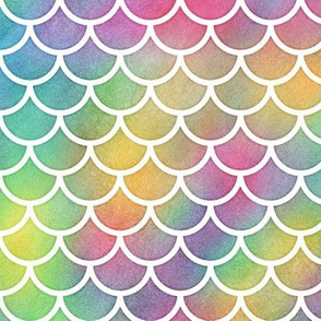 Bright Rainbow Watercolor Scale Pattern 1