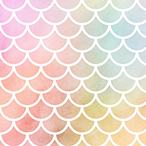 Pastel Rainbow Watercolor Scale Pattern 1 fabric by raccoongirl on Spoonflower - custom fabric