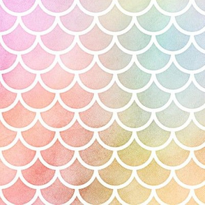 Pastel Rainbow Watercolor Scale Pattern 1