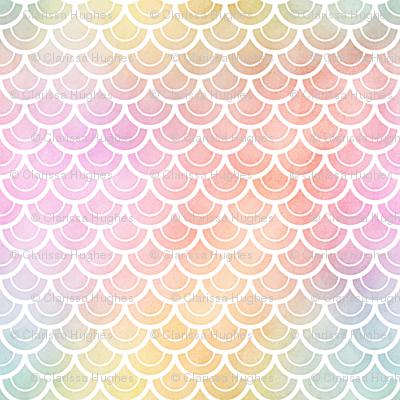 Pastel Rainbow Watercolor Scale Pattern 2