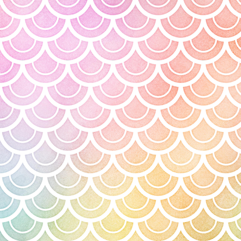 Pastel Rainbow Watercolor Scale Pattern 2 fabric by raccoongirl on Spoonflower - custom fabric