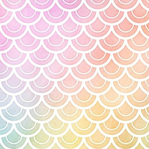 Pastel Rainbow Watercolor Scale Pattern 2