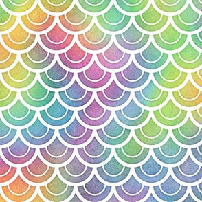 Bright Rainbow Watercolor Scale Pattern 2