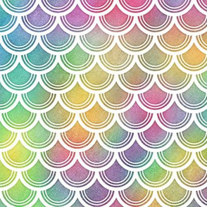 Bright Rainbow Watercolor Scale Pattern 3