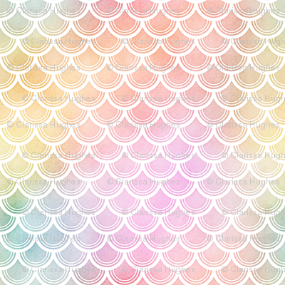 Pastel Rainbow Watercolor Scale Pattern 3