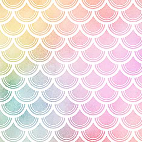 Pastel Rainbow Watercolor Scale Pattern 3 fabric by raccoongirl on Spoonflower - custom fabric
