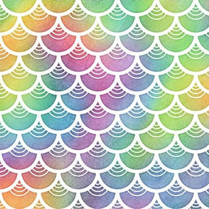 Bright Rainbow Watercolor Scale Pattern 4