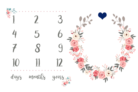 Pink Floral with Navy Heart - Milestone Blanket fabric by littlelambandivy on Spoonflower - custom fabric