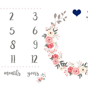 Pink Floral with Navy Heart - Milestone Blanket