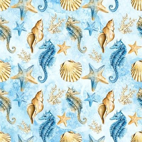 Seahorse & Sealife - Blue and Sand