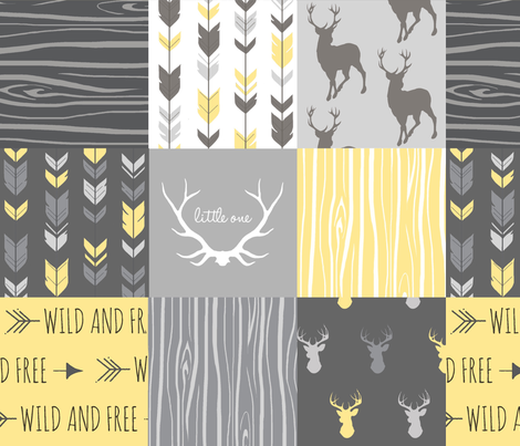 Patchwork Deer- Wholecloth Quilt - Baby Yellow and Greys - Little One - Wild and Free fabric by sugarpinedesign on Spoonflower - custom fabric