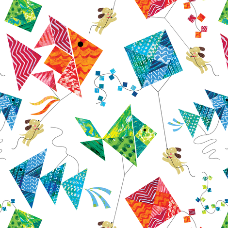 Tangram Kites and Puppies fabric by sarah_treu on Spoonflower - custom fabric