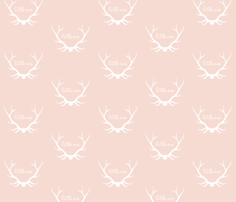 Little One Antlers - soft rose and white - woodland nursery fabric by sugarpinedesign on Spoonflower - custom fabric