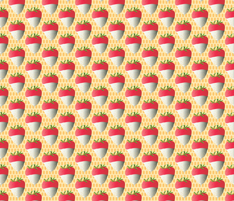 White Chocolate Dipped Strawberries gold fabric by colour_angel_by_kv on Spoonflower - custom fabric