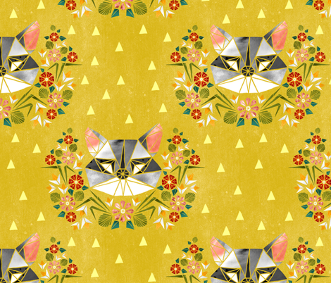 Spring Raccoon Tangram on Chartreuse fabric by pinky_wittingslow on Spoonflower - custom fabric