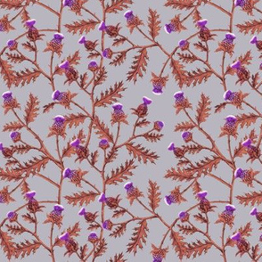 Thistles, Purple and Rust on Purple Grey
