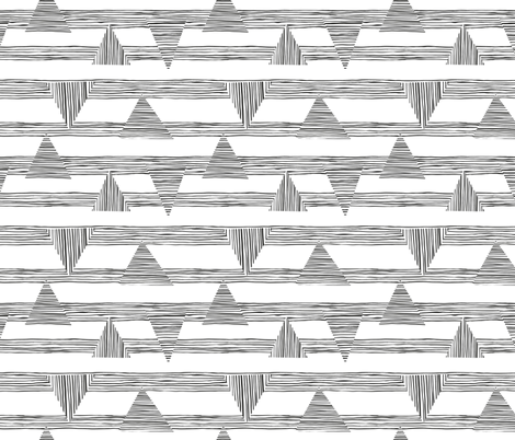 Painted_stripes_and_intersecting_triangles_black fabric by luciecookedesign on Spoonflower - custom fabric
