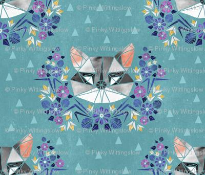 Spring Raccoon Tangram on Teal