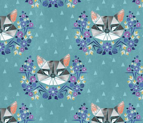 Spring Raccoon Tangram on Teal fabric by pinky_wittingslow on Spoonflower - custom fabric