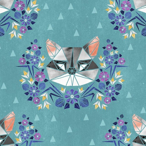 Spring Raccoon Tangram on Teal