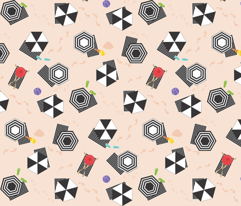 Hexagon Beach Umbrellas and One Red Hat black and white fabric by colour_angel_by_kv on Spoonflower - custom fabric