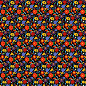 Bright colorful pattern on black background
